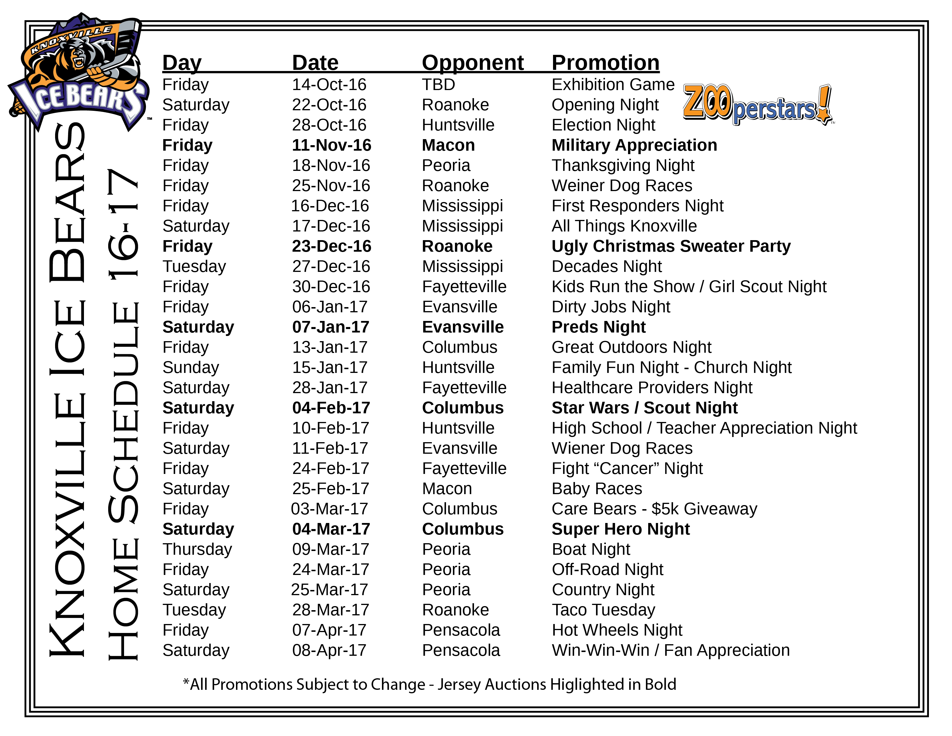 ice bears 2016-17 home-promo schedule - knoxville ice bears - sphl