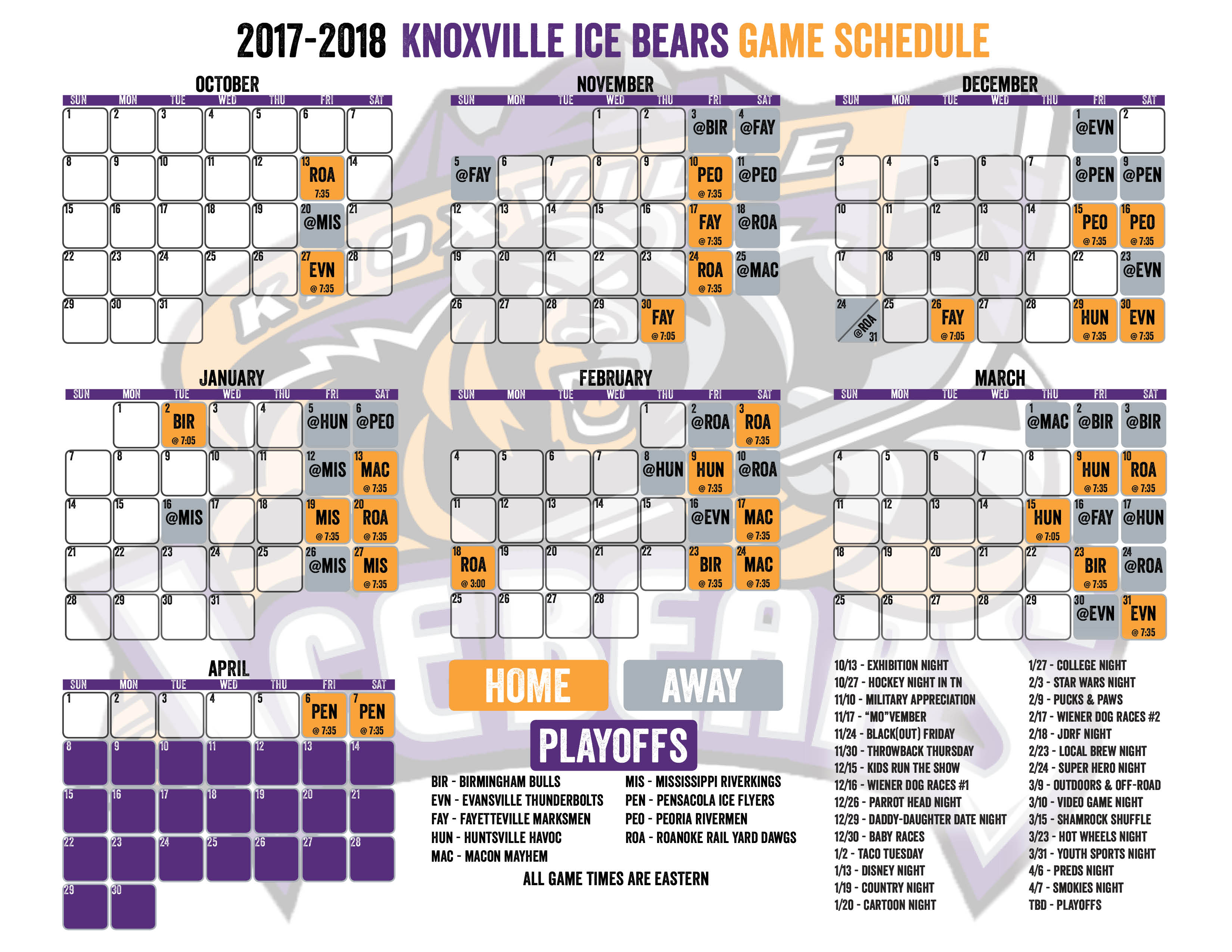 Download the Ice Bears Game Schedule