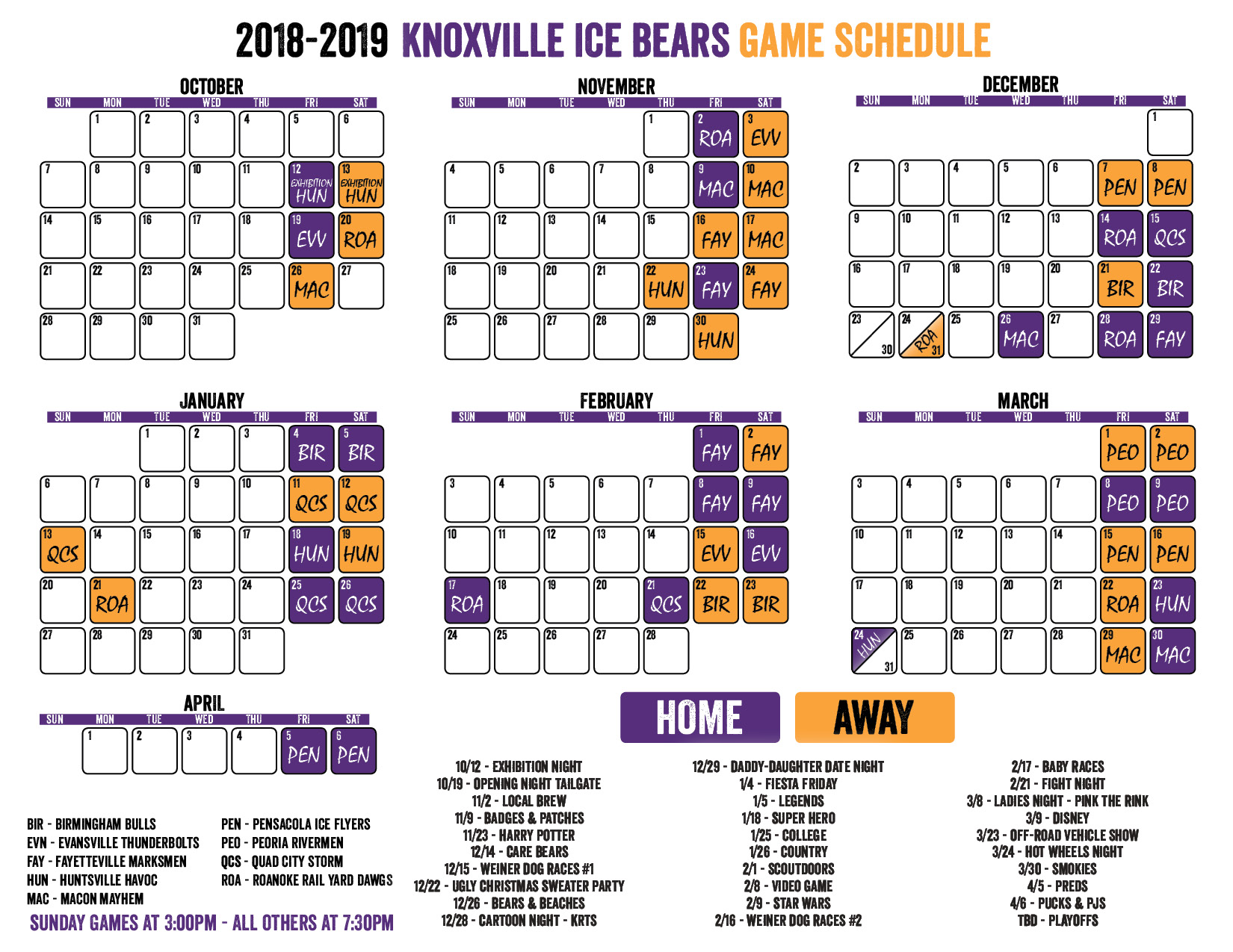 knoxville ice bears: download schedule